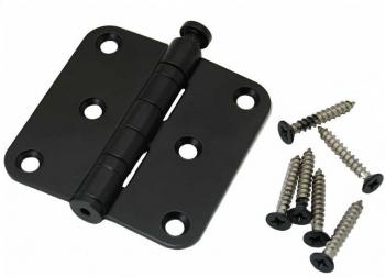 Kogelscharnier zwart, 76x76mm, ronde hoek